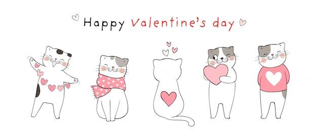 Bannière avec des chats pour la saint valentin