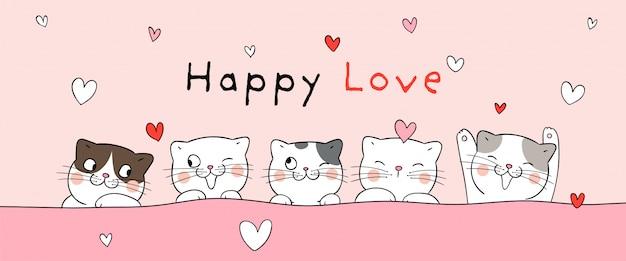 Bannière de chats pour la saint valentin