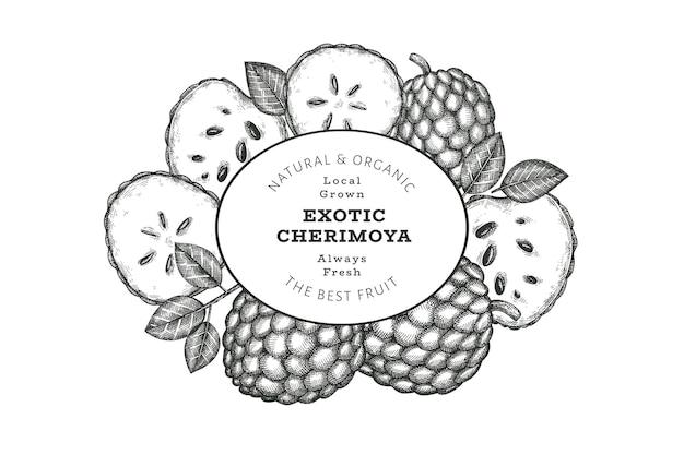 Bannière de cherimoya de style croquis dessinés à la main. illustration vectorielle de fruits frais biologiques. modèle de conception botanique de style gravé.