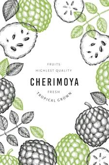 Bannière de cherimoya de style croquis dessinés à la main.