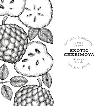 Bannière de cherimoya de style croquis dessinés à la main