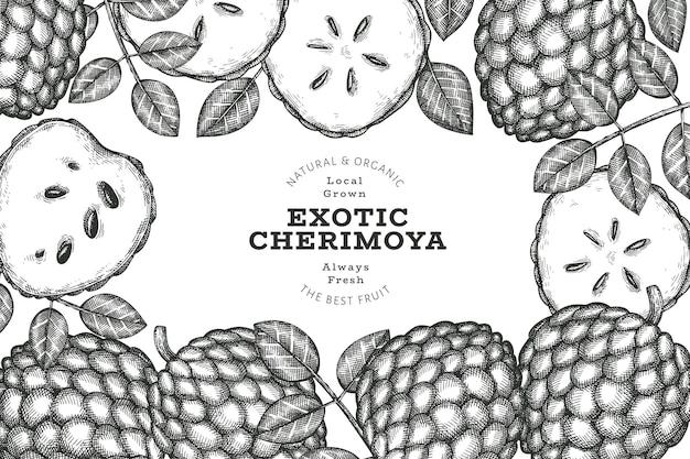 Bannière de cherimoya style croquis dessinés à la main