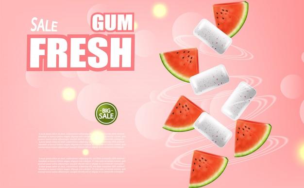 Bannière de chewing-gum de pastèque