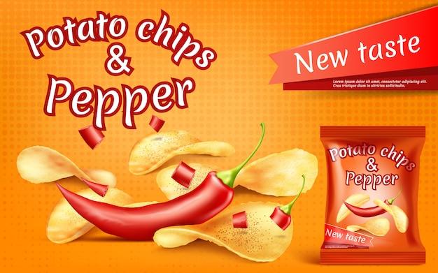 Bannière avec des chips de pommes de terre réalistes et piment rouge