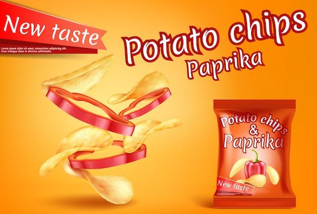 Bannière avec chips de pommes de terre réalistes et tranches de paprika.