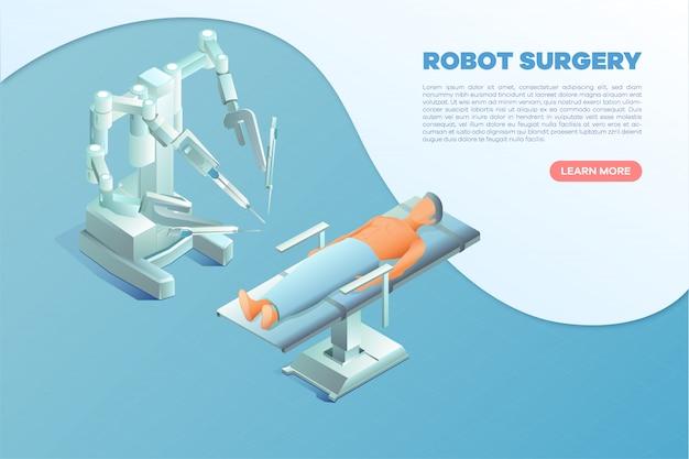 Bannière de chirurgie robot isométrique