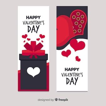 Bannière de chocolat et cadeau saint-valentin