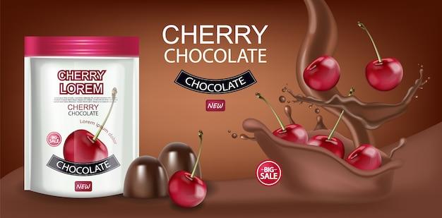 Bannière de chocolat cerise