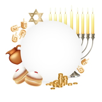 Bannière circulaire de célébration de hanoukka avec six pointes étoile david menora candelabrum moon