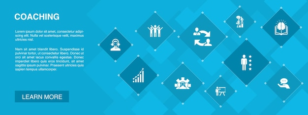 Bannière de coaching 10 icônes concept.support, mentor, compétences, formation d'icônes simples