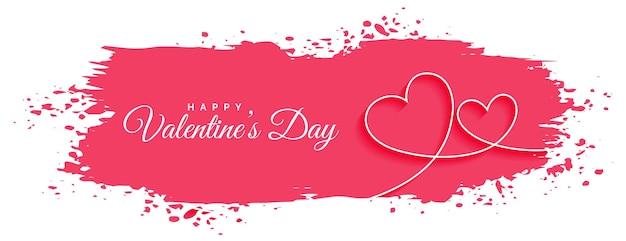 Bannière de coeur abstrait saint valentin ligne