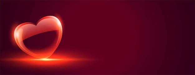 Bannière de coeur d'amour brillant brillant pour la saint valentin