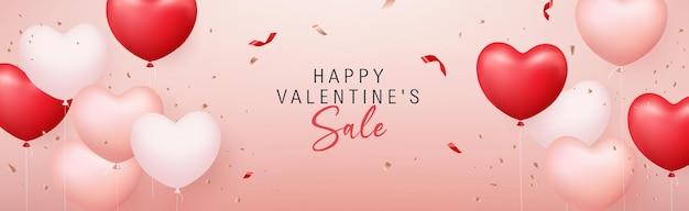 Bannière de coeur ballon rose rouge vente heureuse saint-valentin