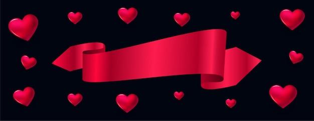 Bannière de coeurs 3d avec ruban et espace de texte