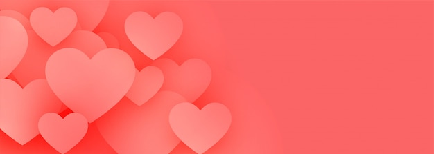 Bannière de coeurs d'amour rose élégant avec espace de texte