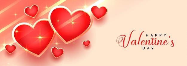 Bannière de coeurs brillants belle saint valentin heureuse