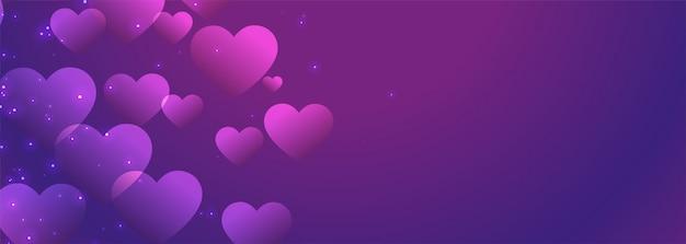 Bannière de coeurs brillants violets avec espace de texte