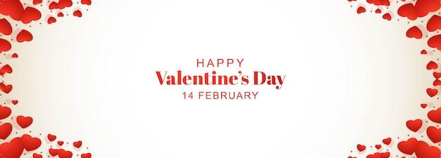 Bannière de coeurs décoratifs carte happy valentines day card