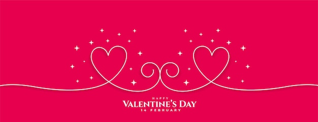 Bannière de coeurs de ligne créative joyeux saint valentin