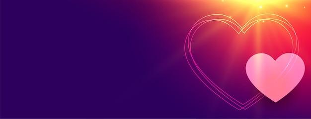 Bannière de coeurs lumineux pour la saint valentin