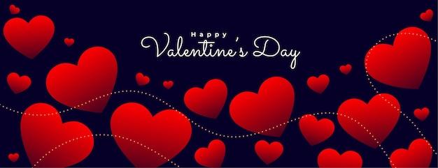 Bannière de coeurs rouges flottants saint valentin
