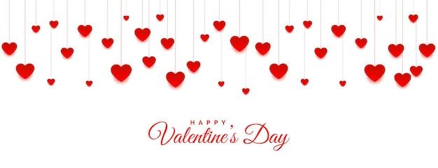 Bannière de coeurs suspendus pour la saint valentin