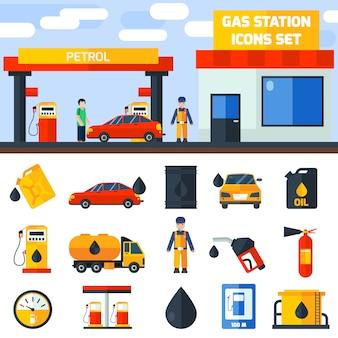 Bannière de collecte des icônes de station d'essence à gaz