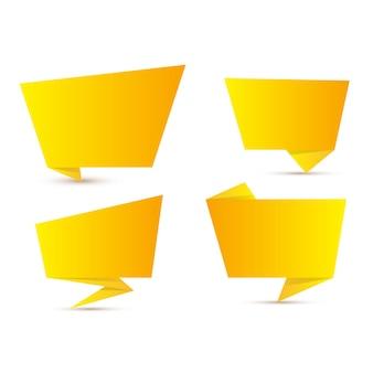 Bannière de collection de papier origami pense-bête