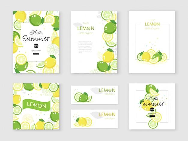 Bannière colorée au citron