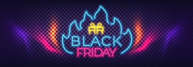 Bannière colorée au néon de vente vendredi noir. enseignes au néon de texte moderne.