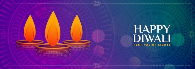 Bannière colorée de bon augure joyeux diwali