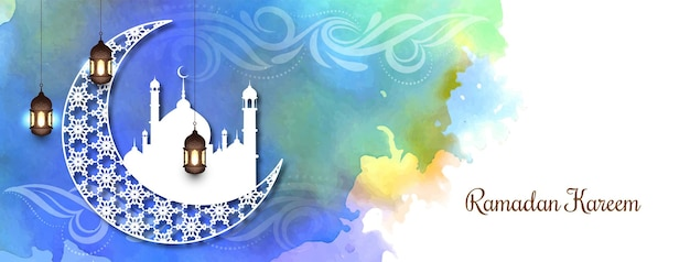 Bannière colorée du festival ramadan kareem avec croissant de lune