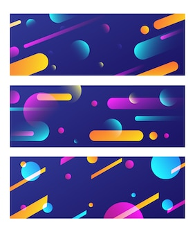 Bannière colorée géomterique fluide trois