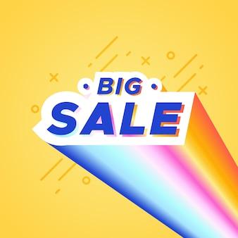 Bannière colorée de grande vente avec arc-en-ciel