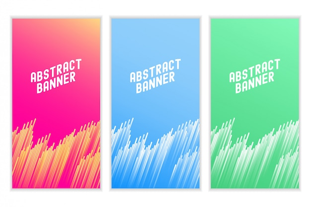 Bannière colorée de lignes abstraites