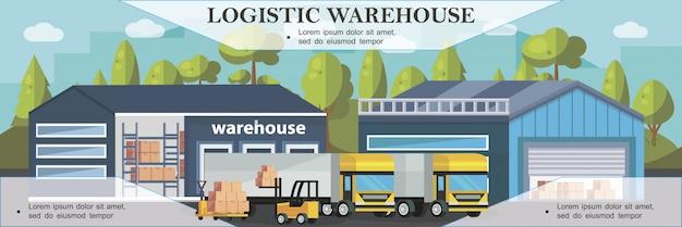 Bannière colorée de logistique d'entrepôt avec processus de chargement de camions dans un style plat