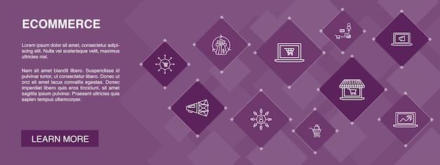 Bannière de commerce électronique 10 icônes conceptonline store panier d'achat processeur de paiement icônes simples
