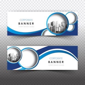 Bannière commerciale bleue et blanche