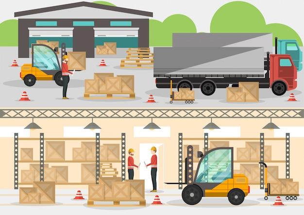 Bannière commerciale de distribution de marchandises au design plat