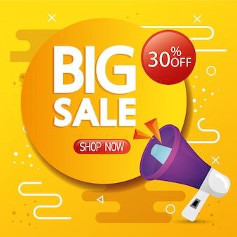 Bannière commerciale avec lettrage de grande vente et réduction de trente pour cent