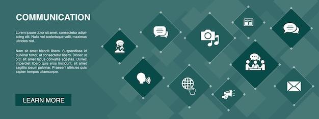 Bannière de communication 10 icônes concept.internet, message, discussion, annonce des icônes simples
