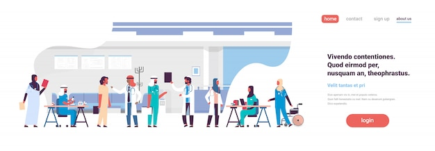 Bannière de communication groupe arabe médecins hôpital