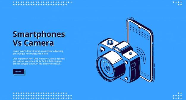 Bannière de compétition smartphones vs caméra