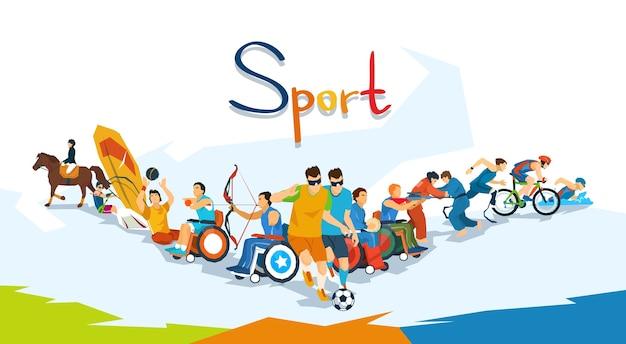 Bannière de compétition sportive pour athlètes handicapés