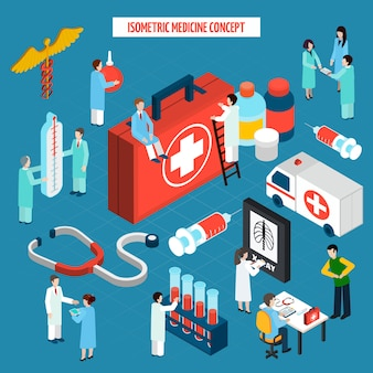 Bannière de composition isométrique médecine concept de soins de santé
