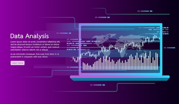 Bannière de concept d'analyse de données. recherche