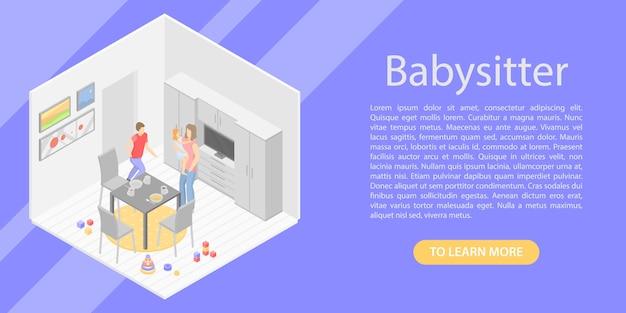 Bannière concept babysitter, style isométrique