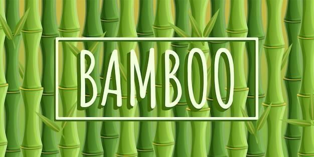 Bannière concept bambou, style cartoon