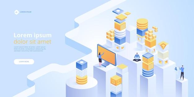 Bannière de concept de blockchain. connexion de blocs numériques isométriques