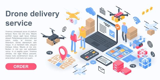 Bannière de concept city drone delivery service, style isométrique